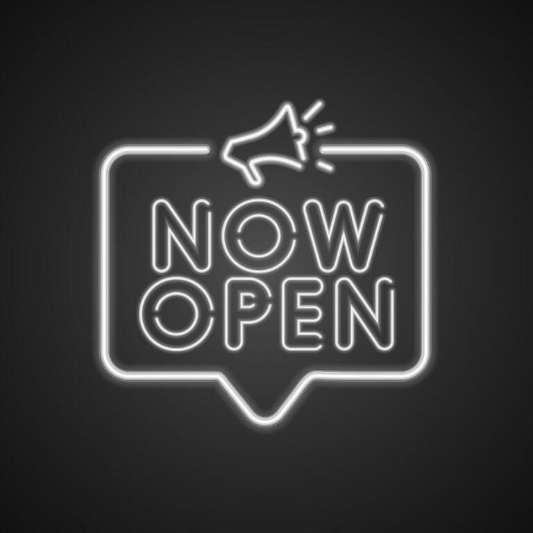 Now Open Neon Sign